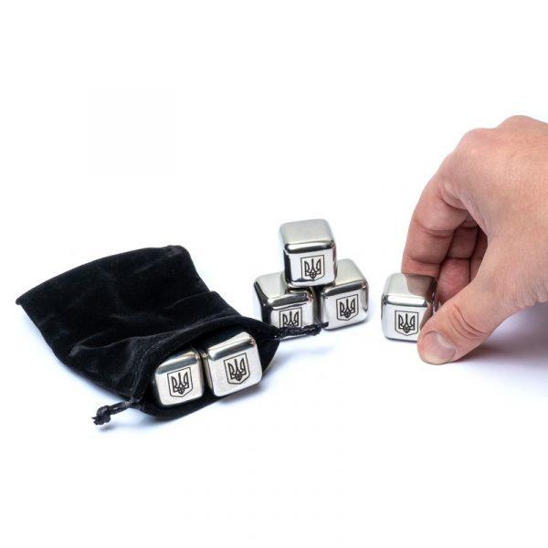 Набор камни кубики для виски металл 6 шт Decanto «Трезубец»