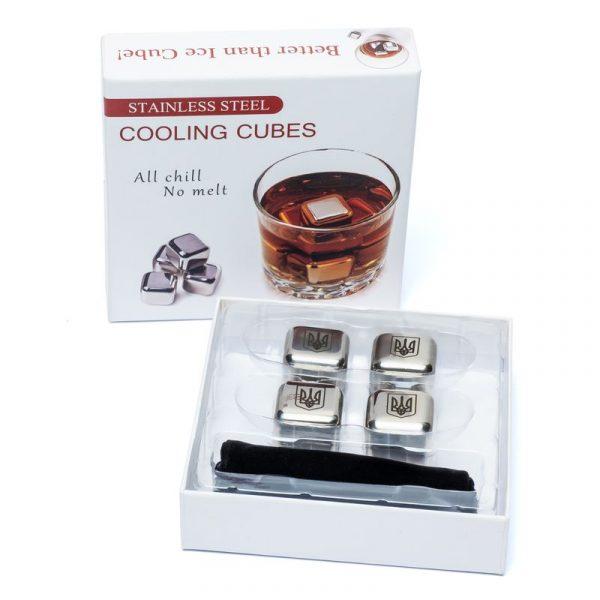Набор камни кубики для виски металл 4 шт Decanto «Трезубец»