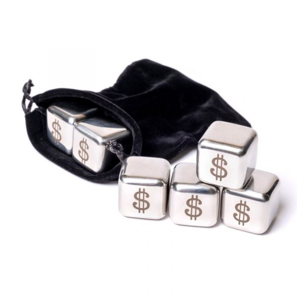 Набор камни кубики для виски металл 6 шт Decanto «Доллар»