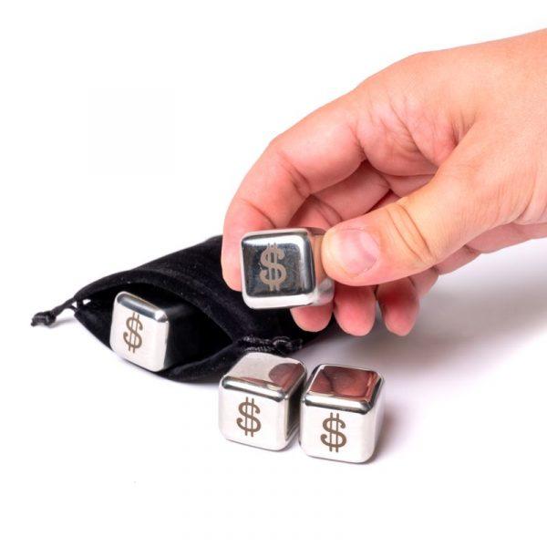 Набор камни кубики для виски металл 4 шт Decanto «Доллар»