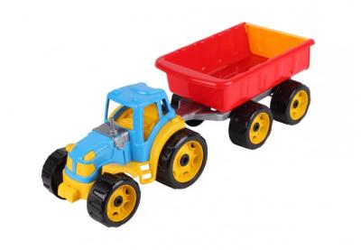 Детский трактор с прицепом, разноцветный