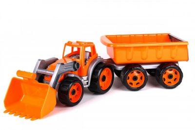 Игрушечный трактор с ковшом и прицепом