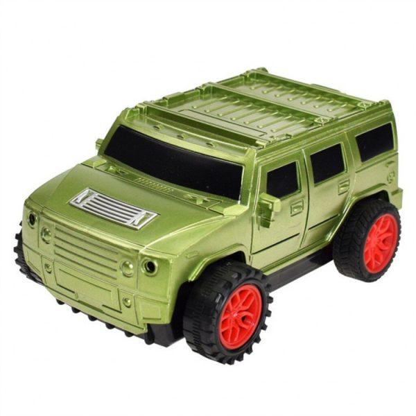 Детская машина, которая ездит по нарисованной линии. Зеленая