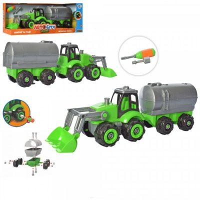Детский трактор-конструктор с прицепом и отверткой в наборе