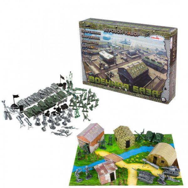 Детский игровой набор солдатики «Военная база» с палатками и танками