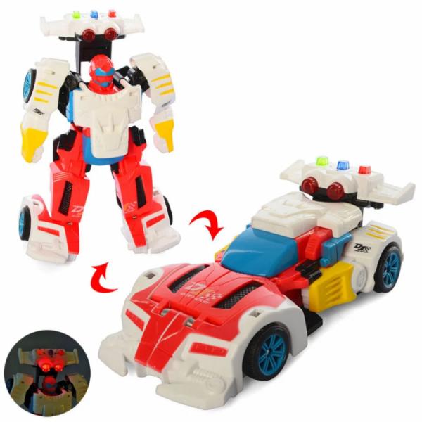 Детский трансформер «робот+машинка» Бело-красный