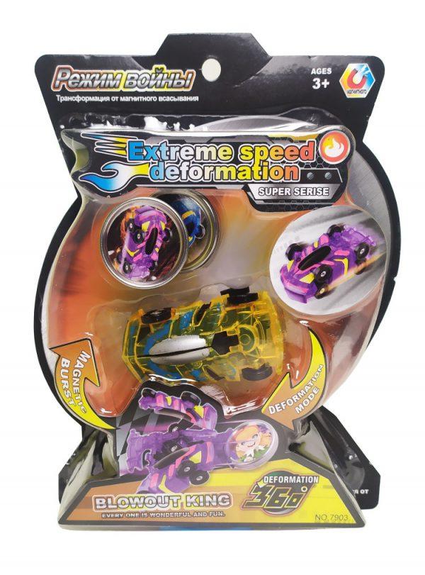 Машинка-трансформер «Скритчер» с магнитным диском, желто-серебряный