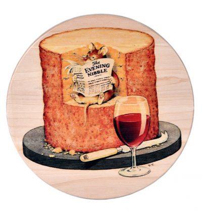 Доска для сыра «Мышка с газетой и вином»