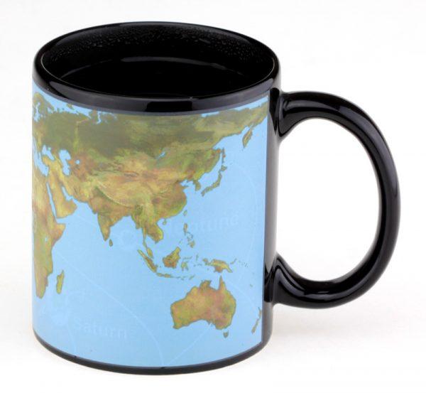 Чашка с терморисунком «Карта Мира» голубая Solar System Chameleon