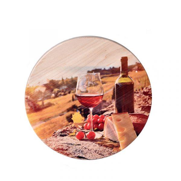 Доска для сыра «Пикник Вино с бокалом»