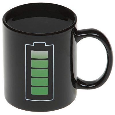 Чашка с терморисунком «Батарейка Chameleon» черная хамелеон