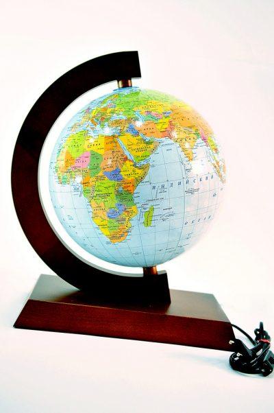 Глобус настольный с подсветкой 250 мм политико-физический