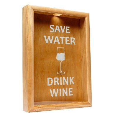 Копилка для винных пробок BST «Save Water drink wine» ясень, 38х28 см.