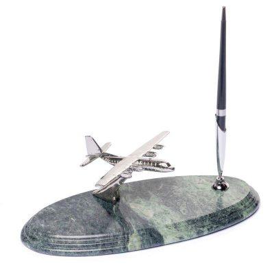 Подставка для ручки BST с самолетом мраморная, 24х10