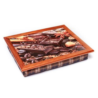 Поднос на подушке BST «Шоколад, зерна кофе, корица», коричневый