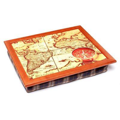 Поднос на подушке BST «Компас на карте», коричневый