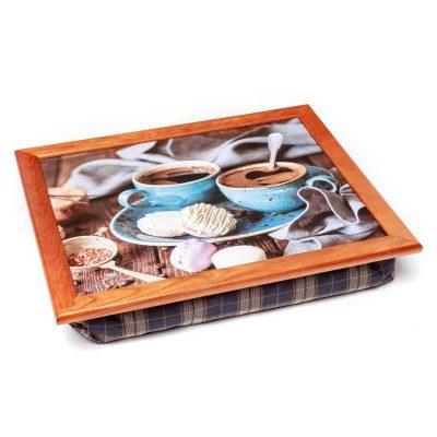 Поднос на подушке BST «Кофе и круглые печеньки», коричневый