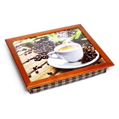Поднос подушка BST «Кофе, доски, листья», коричневый