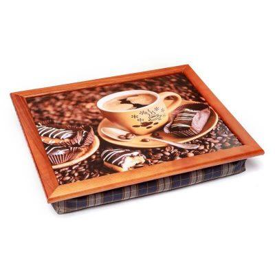 Поднос на мягкой подушке BST «Коричневый кофе и шоколадные печенье»