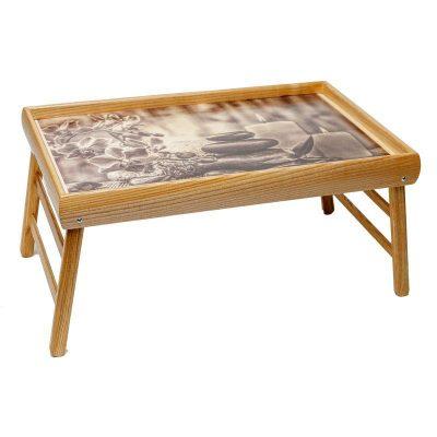 Столик для завтрака в постель BST «Релакс» бежевый 52х32см.