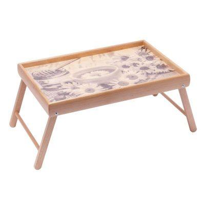 Столик для завтрака на ножках мини BST «Ромашка» 38×26см бесцветный