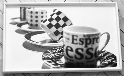 Столик поднос на ножках L «Чашки эспрессо» белый
