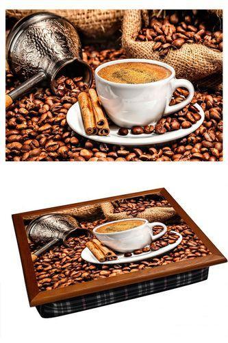 Поднос на подушке «Кофе, корица, кофемолка»