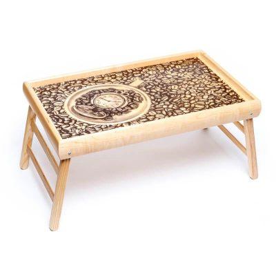 Столик на ножках «Часы в зернах кофе»